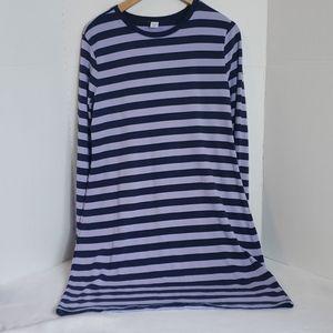 Old Navy Purple Blue Striped Long Sleeve Dress